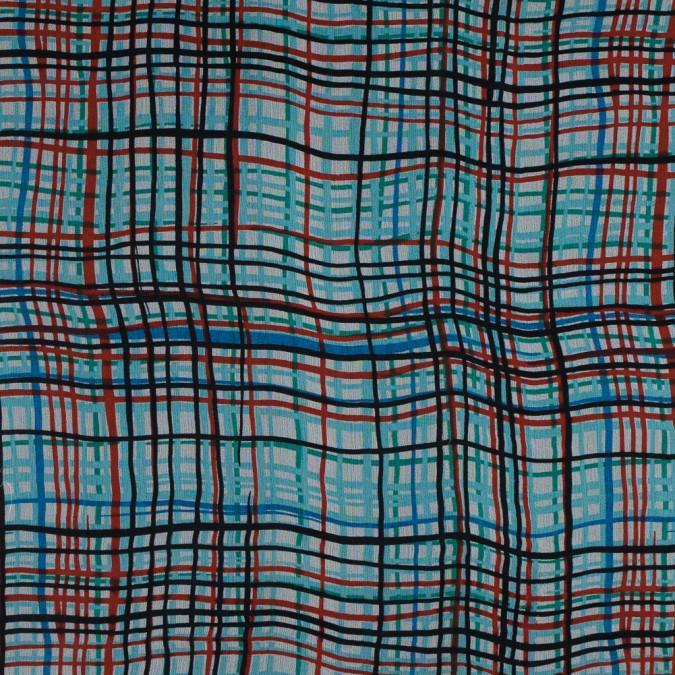 blue and red plaid printed silk chiffon 315758 11
