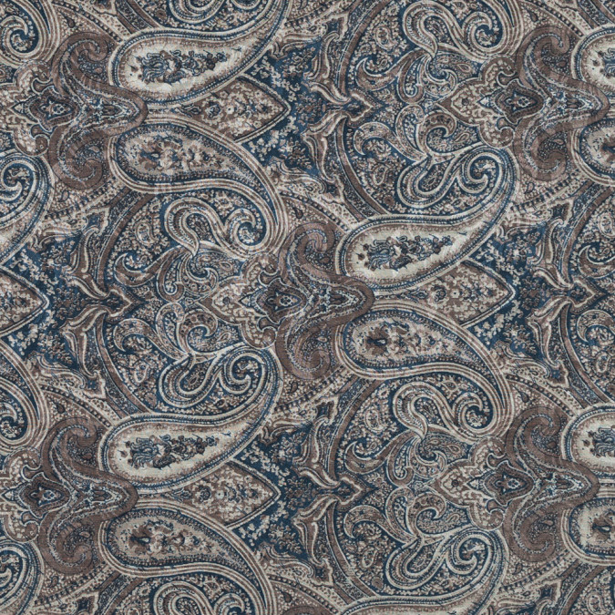 blue and taupe paisley printed silk and cotton faille 319671 11