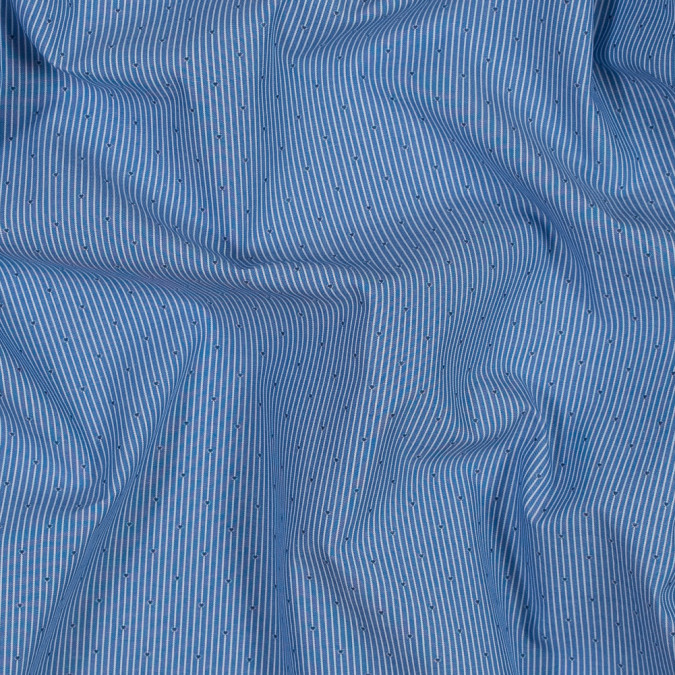 blue and white striped cotton shirting with polka dots 118435 11