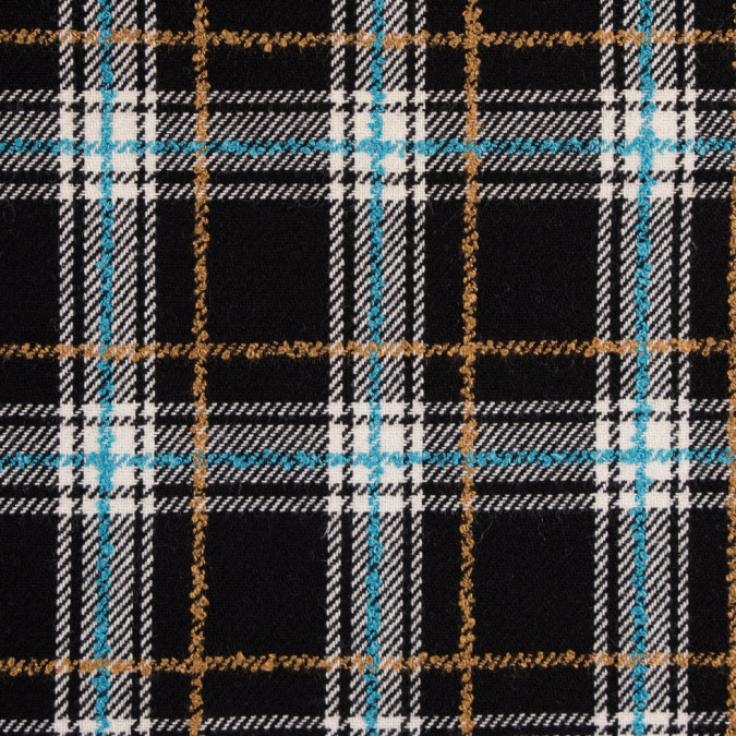 blue black plaid wool twill and solid felt double cloth 310562 11
