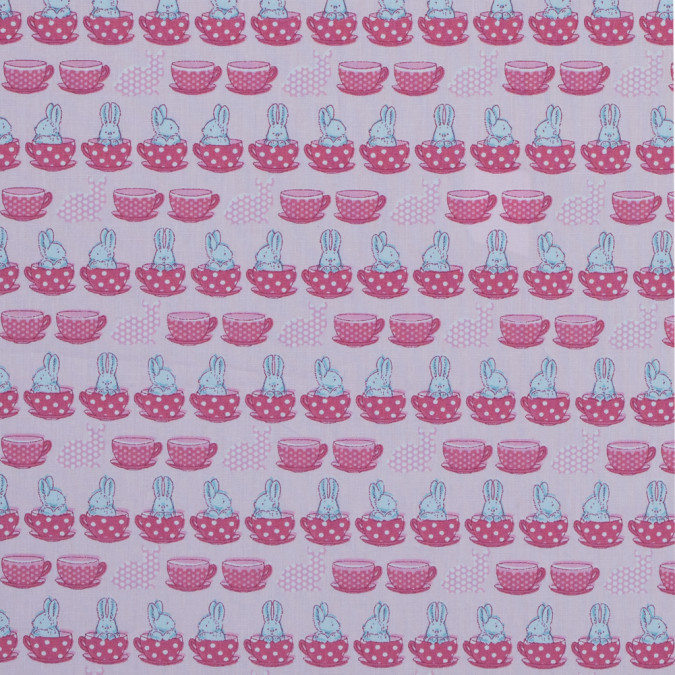 blue bunnies in pink teacups printed on a cotton poplin 314114 11