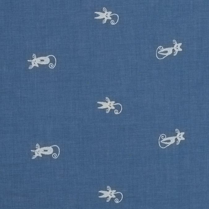 blue cat embroidered cotton chambray 316499 11