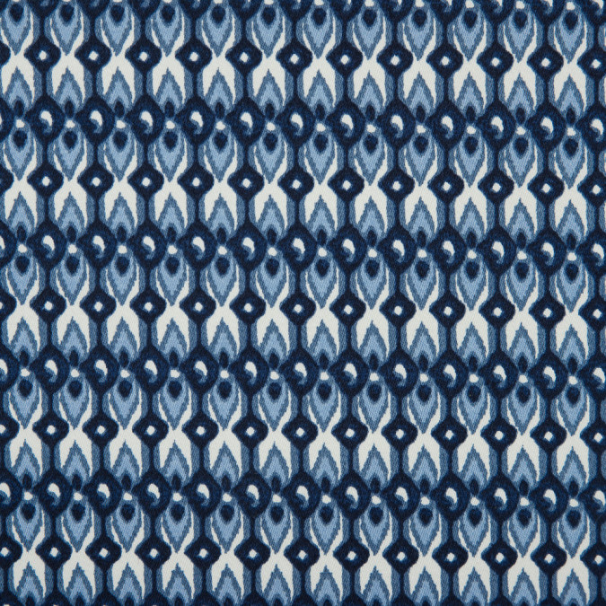 blue geometric ikat printed stretch cotton sateen 114403 11