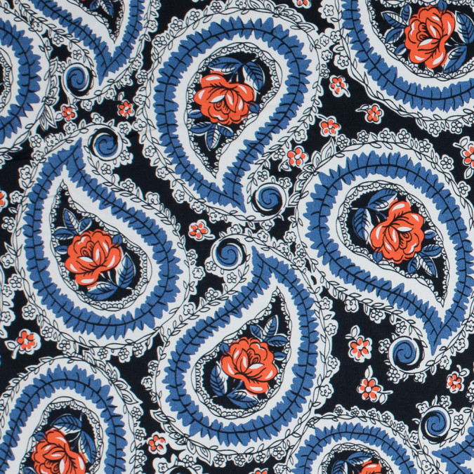 blue graphite dutch blue and vermillion orange paisley stretch cotton sateen 117336 11