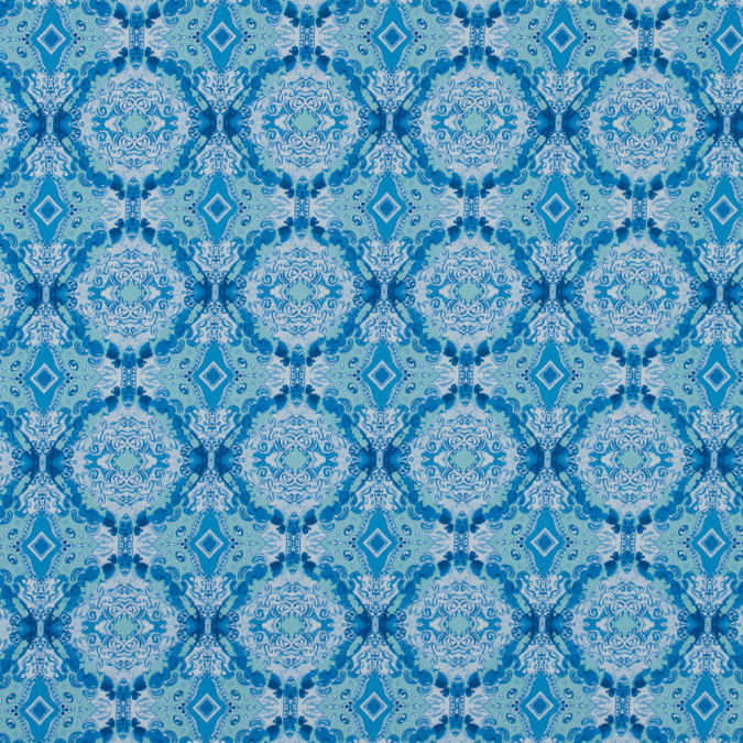blue kaleidoscopic medallion stretch cotton sateen 315785 11