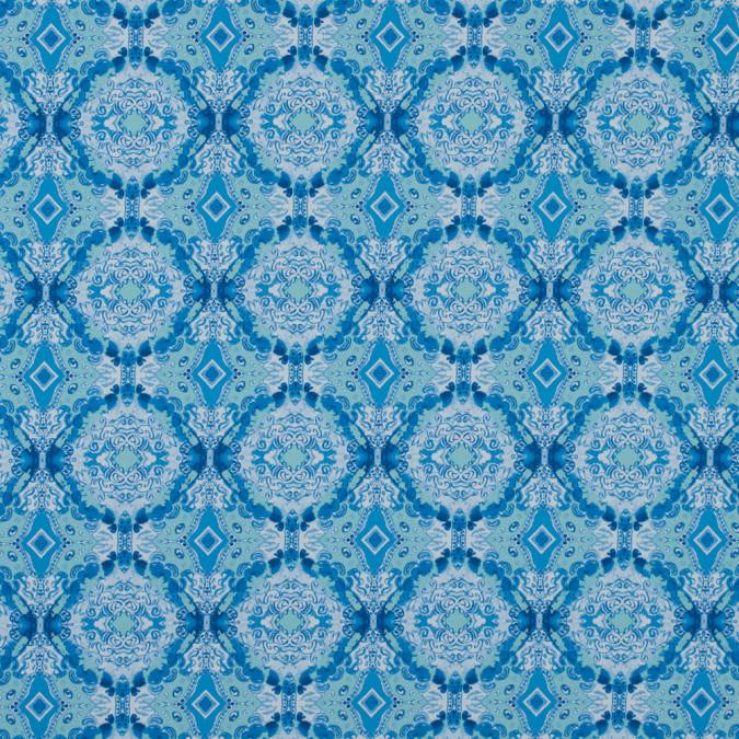 blue kaleidoscopic medallion stretch cotton sateen 315785 11
