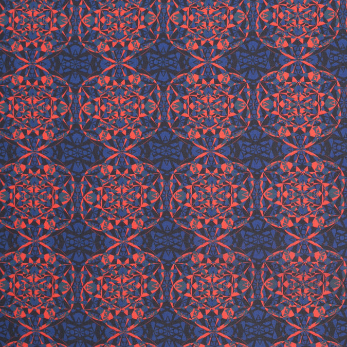 blue orange black kaleidoscope digitally printed polyester charmeuse 307417 11
