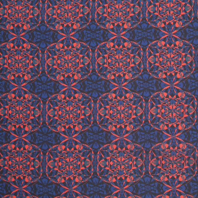 blue orange black kaleidoscope digitally printed polyester charmeuse 307417 11