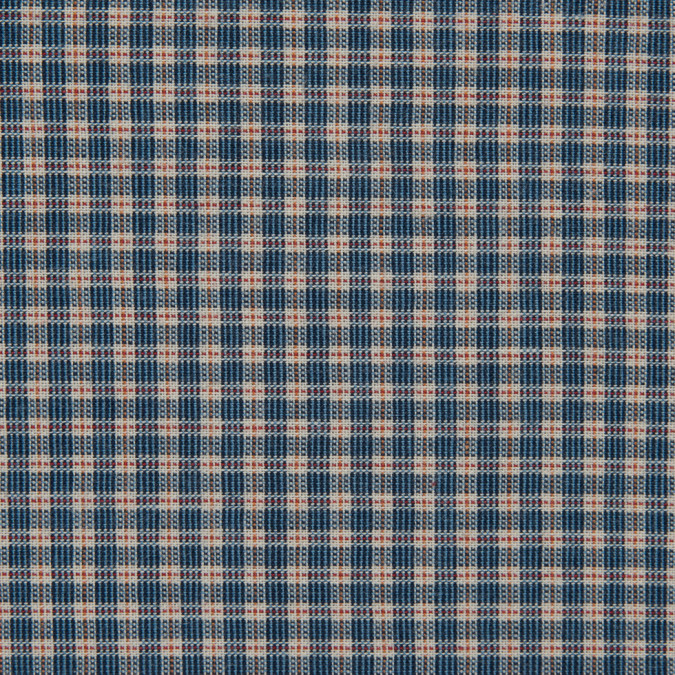 blue orange white mini check cotton shirting 309721 11