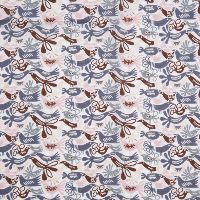 blue pink brown animal printed cotton voile 306426 11
