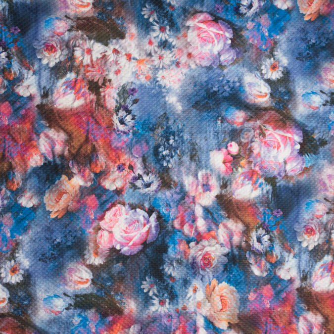 blue pink digitally printed floral illusion on a stretch quilted polyester knit 309061 11