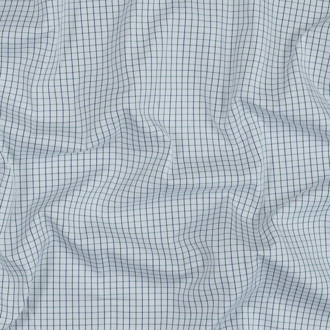 blue ribbon and green tattersall check japanese cotton shirting 318909 11