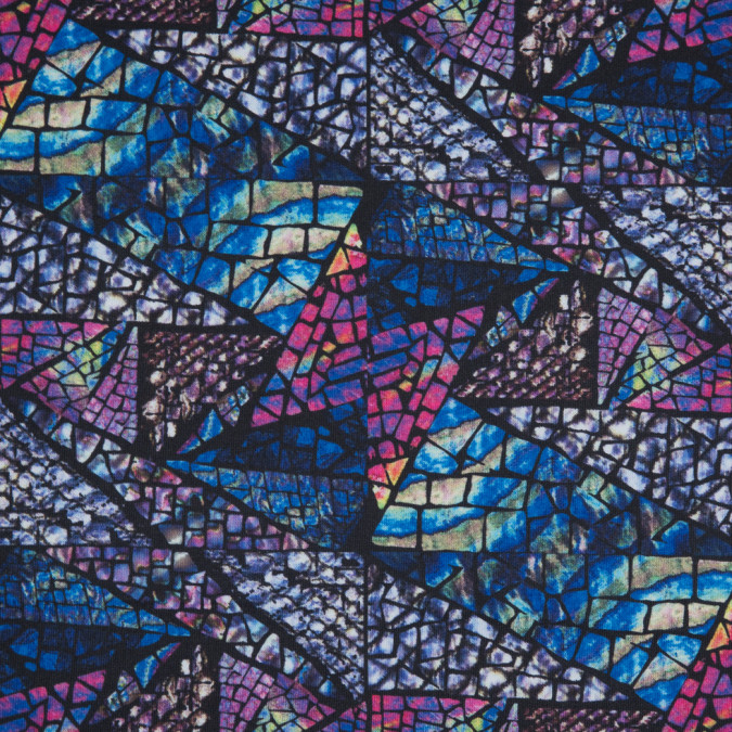 blue stained glass digitally printed stretch neoprene scuba knit 310340 11