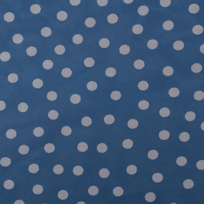 blue white polka dots polyester netting mesh 308954 11