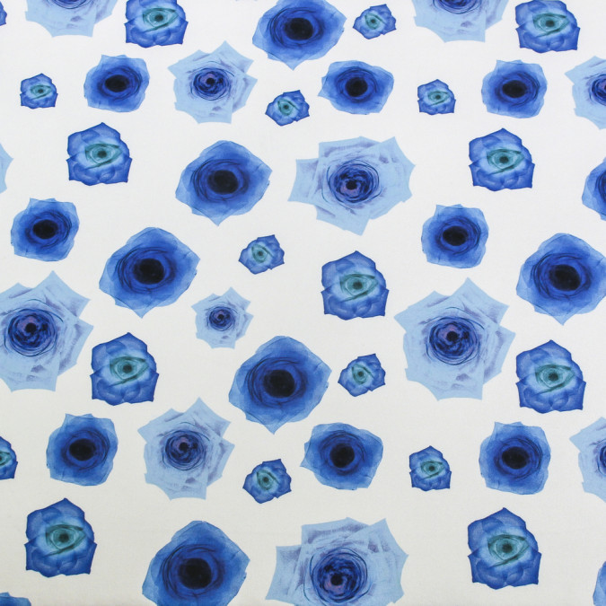blue x ray roses digitally printed on stretch neoprene scuba knit 309147 11