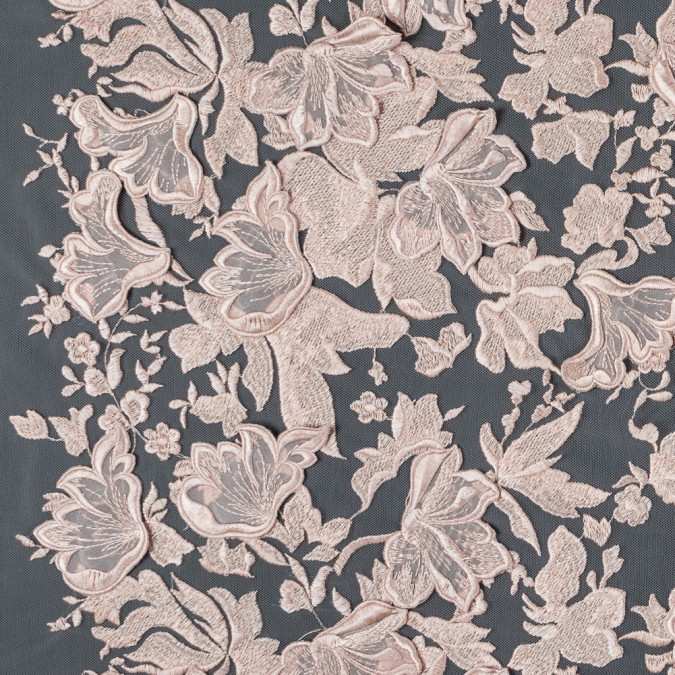 blush 3d floral embroidered lace on a blush netting 117364 11