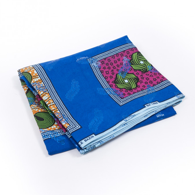 bright blue waxed cotton african print with inlaid pattern and metallic blue leafy foil 319553 11