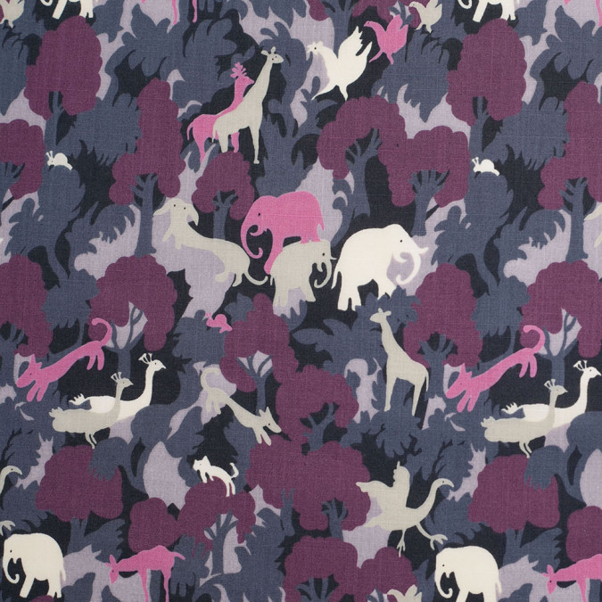 bright lavender dark gray slubbed animal printed cotton voile 306330 11