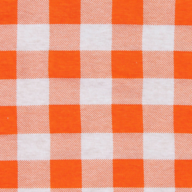 bright orange and white big checks cotton jersey 302413 11