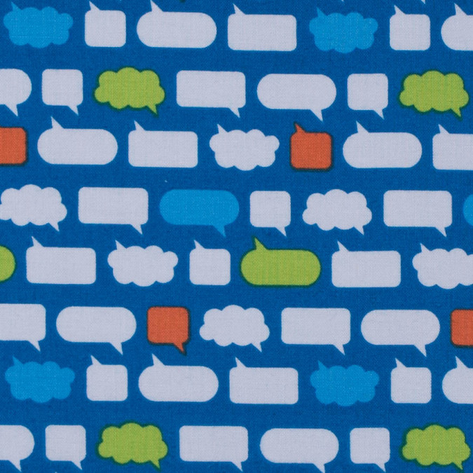 brilliant blue conversational speech bubble cotton print 313424 11