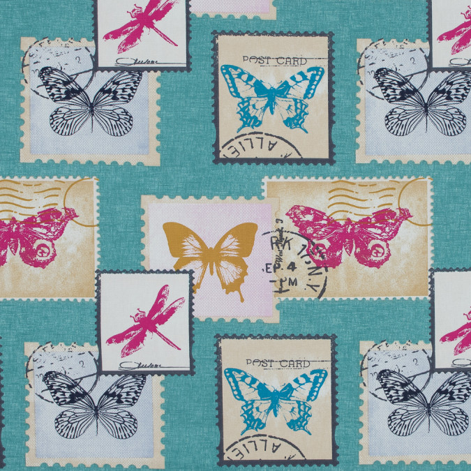 british aqua butterfly and dragonfly postage printed cotton canvas awg557 11