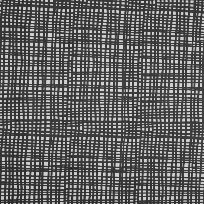 british black grid printed cotton canvas awg967 11