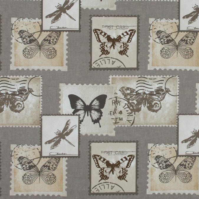 british natural butterfly and dragonfly postage printed cotton canvas awg556 11