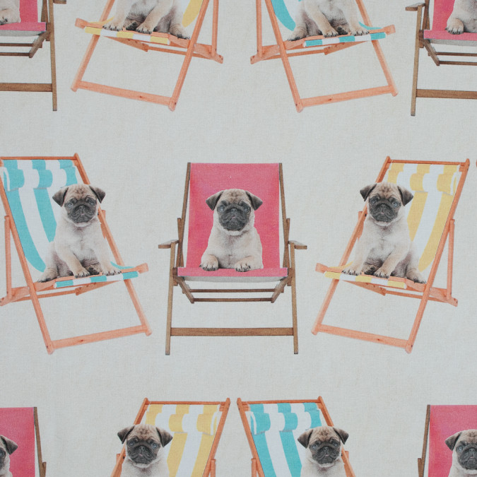 british pugs on lawn chairs printed cotton canvas awg555 11