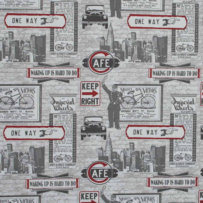 british red highway themed printed cotton canvas awg597 11