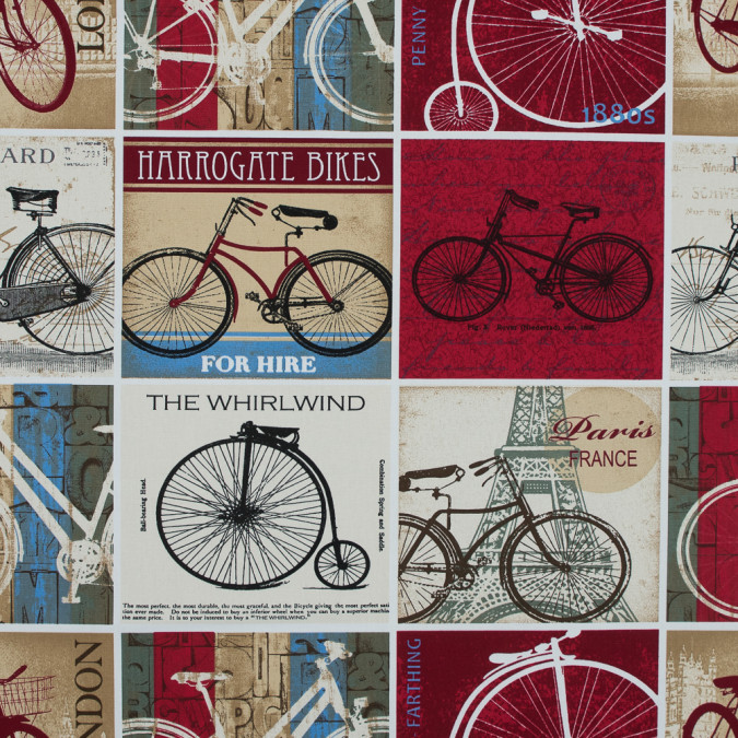 british vintage cyclist printed cotton canvas awg595 11