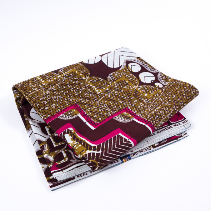 brown mustard and fuchsia waxed cotton african print 313266 11
