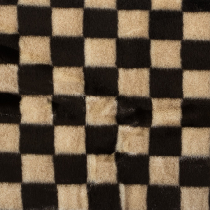 brown and bleached sand checker board faux fur 317800 11