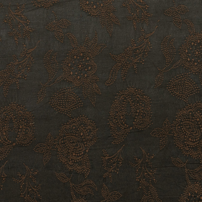 brown and olive night floral embroidered woven 309186 11