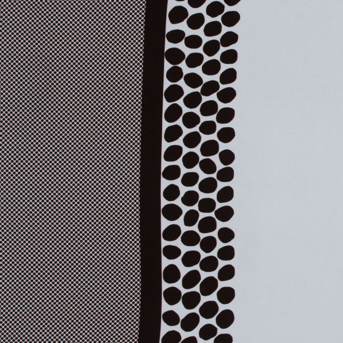 brown and white polka dot border printed stretch crepe 317545 11