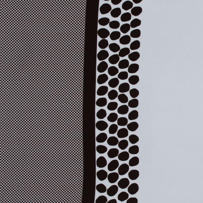 brown and white polka dot border printed stretch crepe 317545 11