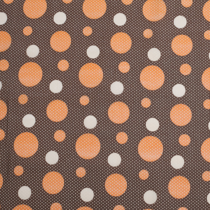 brown apricot cotton voile circle print 306377 11
