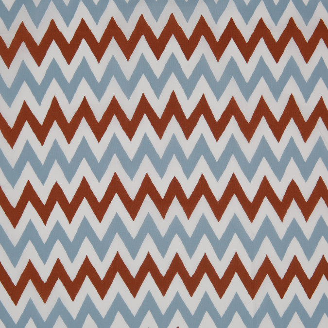brown blue white zig zag printed cotton poplin 307078 11