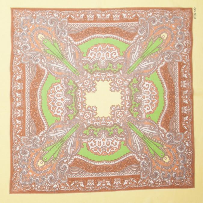 brown green yellow silk chiffon border printed panel 307086 11
