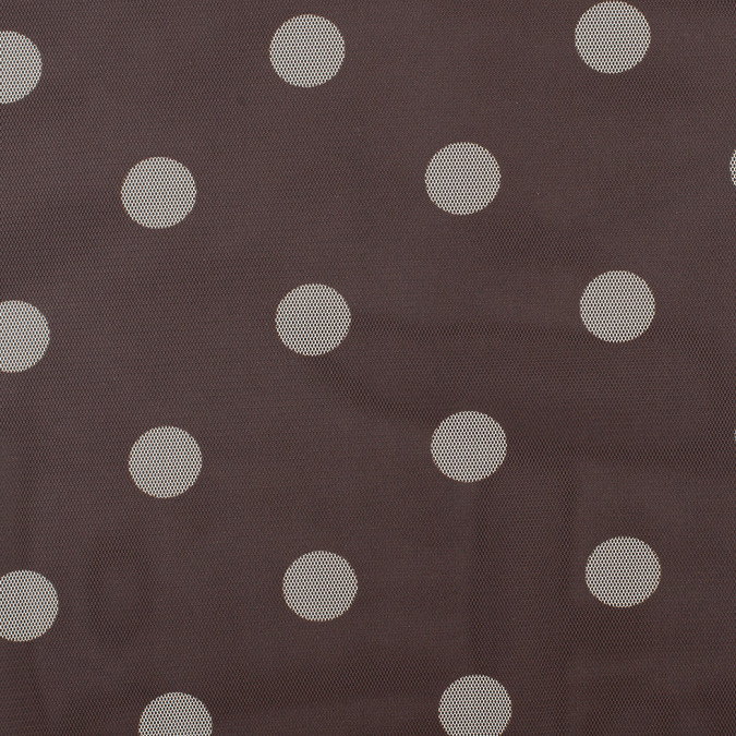 brown ivory polka dot polyester mesh 308955 11