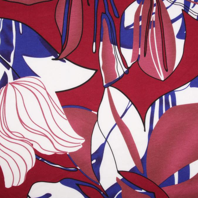 burgundy floral polyester jersey knit 306579 11