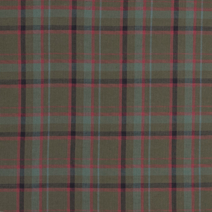 burnt olive and coral plaid japanese cotton shirting 318907 11