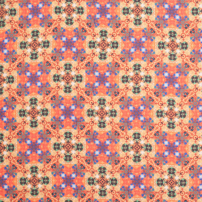 burnt orange kaleidoscope digitally printed polyester charmeuse 307416 11