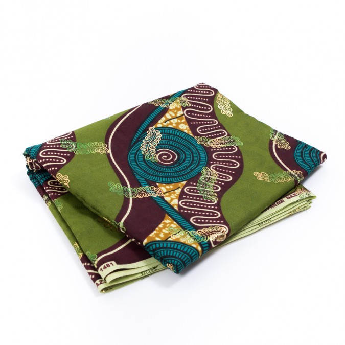 calla green waxed cotton african print with inlaid print and metallic ombre foil 317781 11