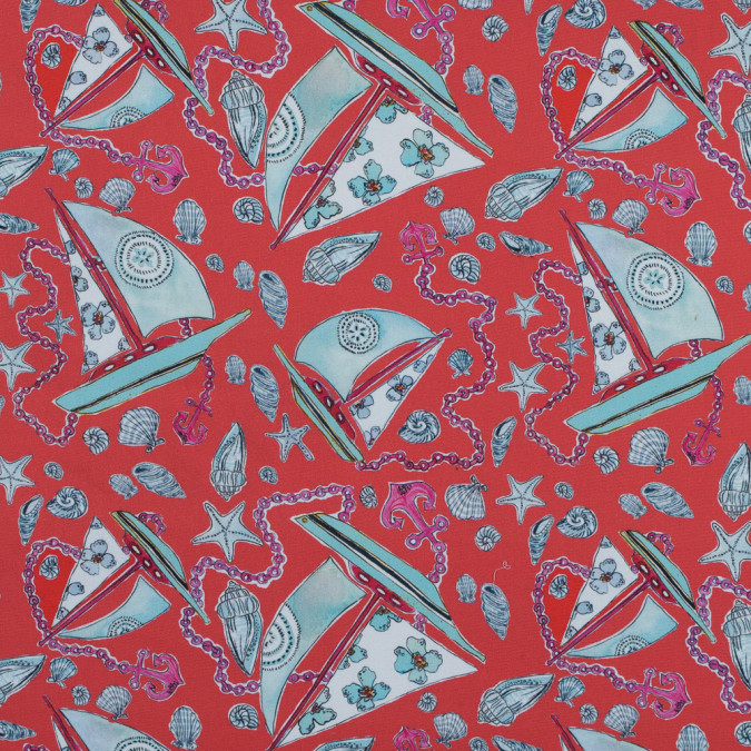 carmine red and blue nautical printed stretch cotton sateen 315861 11