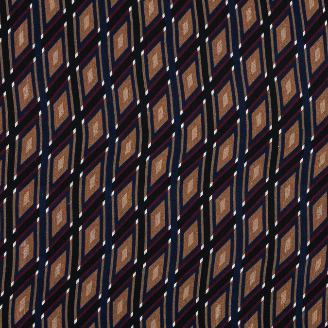 carolina herrera brown red and blue geometric crinkled silk chiffon 319515 11
