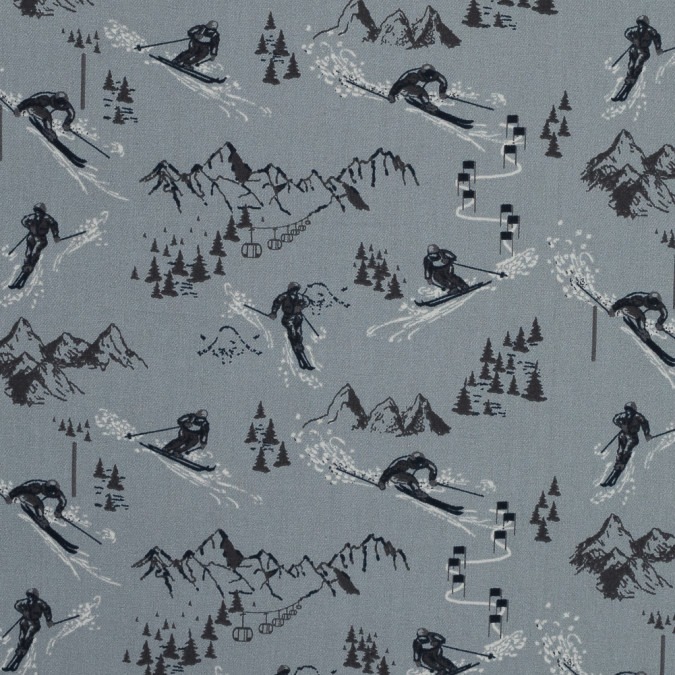 cement gray skiers and slopes printed brushed cotton twill 316004 11