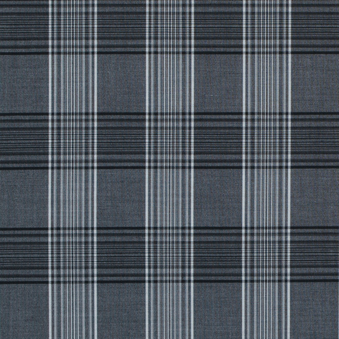 charcoal gray and white tartan plaid stretch shirting 314135 11
