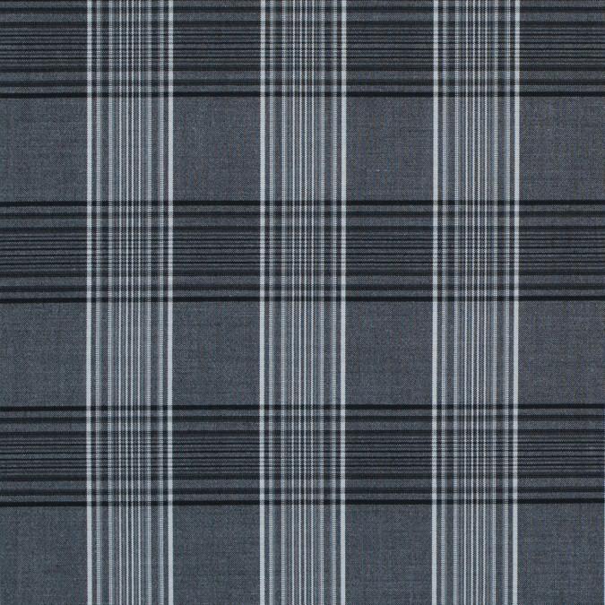 charcoal gray and white tartan plaid stretch shirting 314135 11