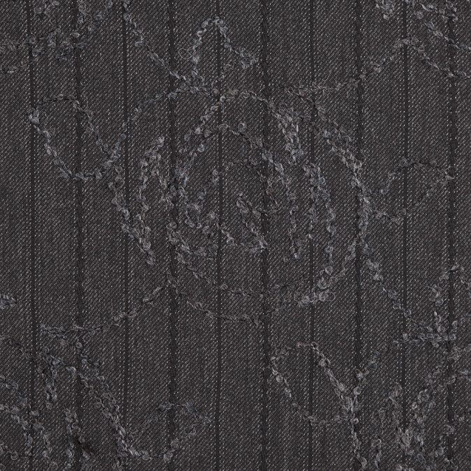 charcoal gray rose embroidered striped polyester suiting 310582 11