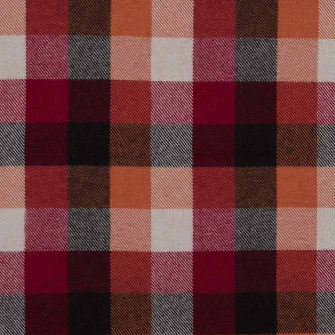 chili pepper and apricot orange checkered brushed wool twill 314122 11
